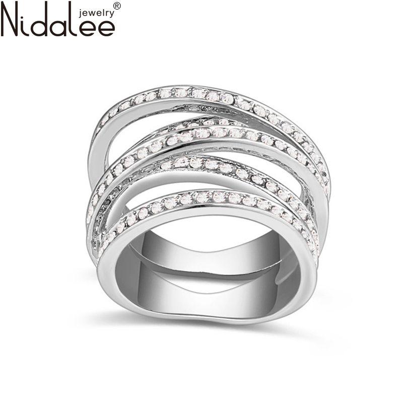 Nidalee 2017 Design Crystal From Swarovski Rings For Women Gold