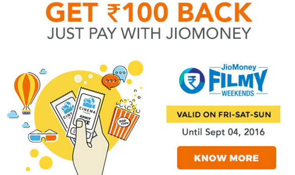 BookMyShow Pay with Jio Money to Get 100 Cashback