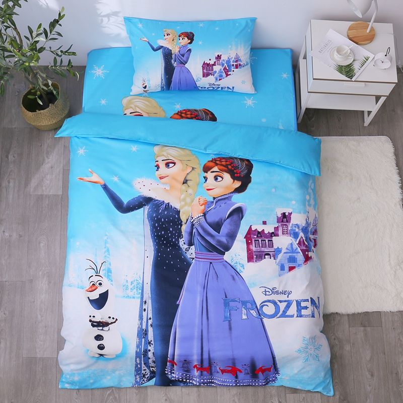 Cartoon Blue Frozen 2 Princess Elsa Anna Bedding Set Children S Kids Duvet Cover Set Bedroom Decor Twin Singl In 2021 Kids Duvet Cover Bedroom Duvet Cover Duvet Covers