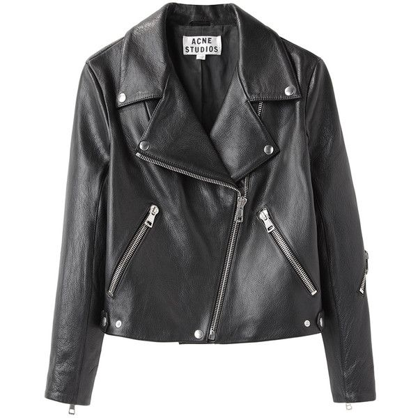 Acne Studios Rita Leather Jacket ($1,150) ❤ liked on Polyvore featuring outerwear, jackets, coats & jackets, leather jackets, cropped jacket, moto jackets, genuine leather jackets and biker jackets
