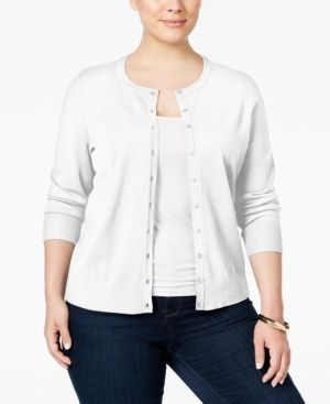 Charter Club Plus Size Long-Sleeve Cardigan, Only at Macy's - White 1X