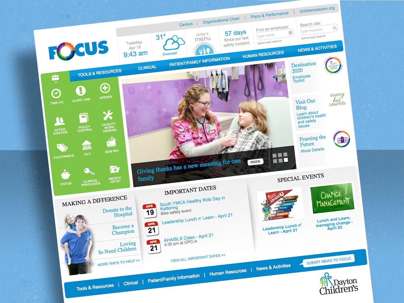 A Healthcare Intranet For A Dayton Ohio Hospital Eyemg Web Mobile Social Dayton Health Care Childrens Hospital