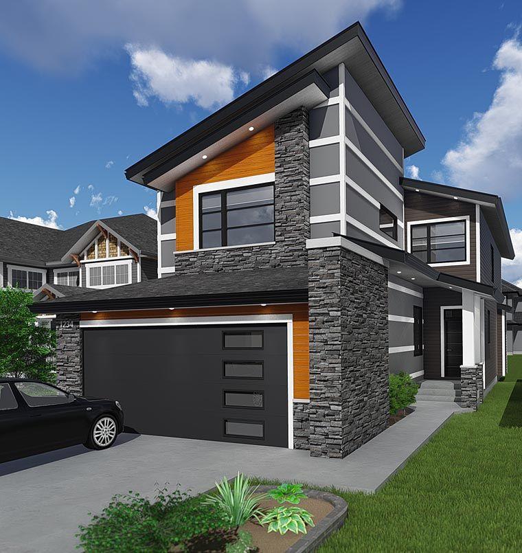 Modern Style House Plan 81186 With 3 Bed 3 Bath 2 Car Garage Modern Style House Plans Narrow Lot House Plans Modern Contemporary House Plans