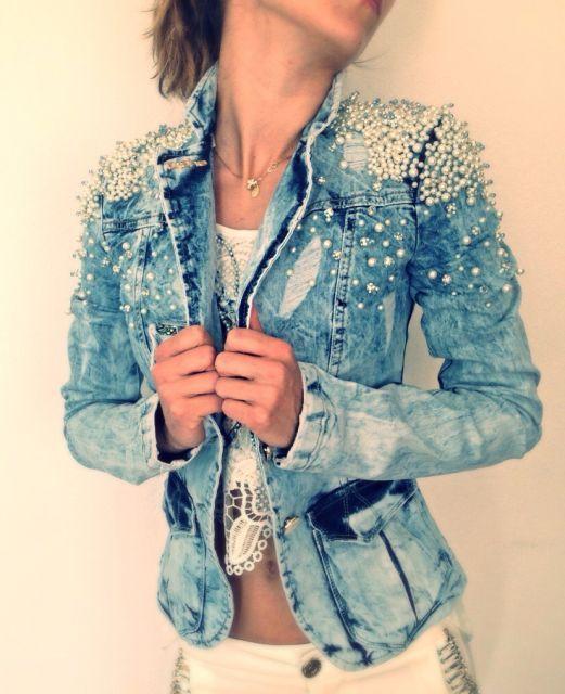 مهره دوزی روی لباس جین