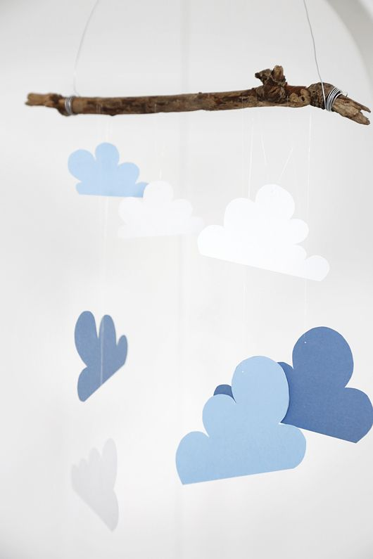mobile nuages fabriquer pinterest mobile nuages nuage et guirlandes. Black Bedroom Furniture Sets. Home Design Ideas