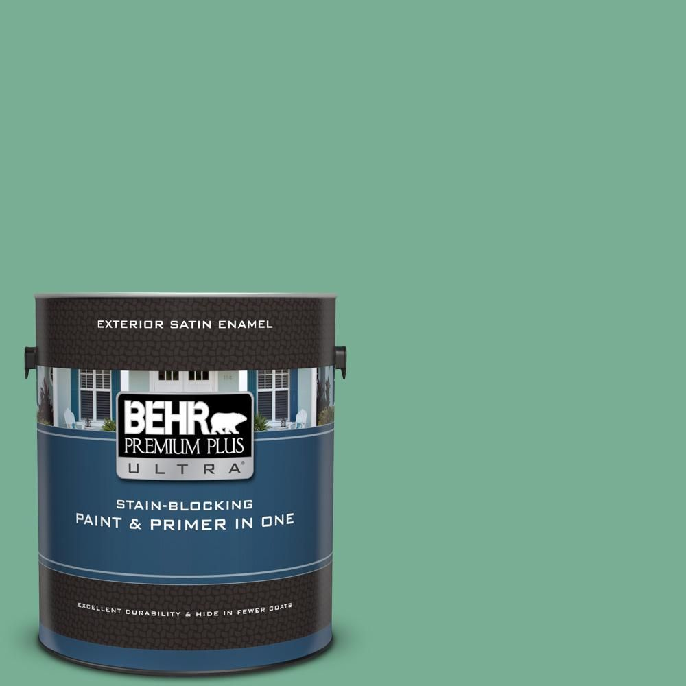 Behr Premium Plus Ultra 1 Gal Mq6 12 Nature Green Satin Enamel Exterior Paint And Primer In One Products Interior Paint Exterior Paint Paint Primer