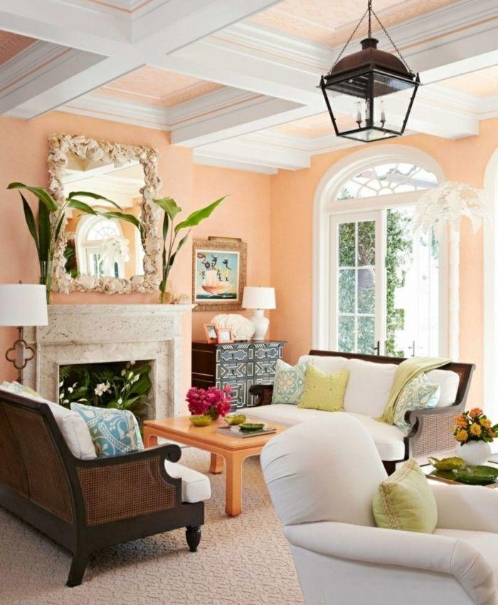 saln con paredes en color melocoton pintura para paredes espejo grande chimenea decorada con plantas lmpara tipo linterna ventana grande - Colores Para Paredes Salon