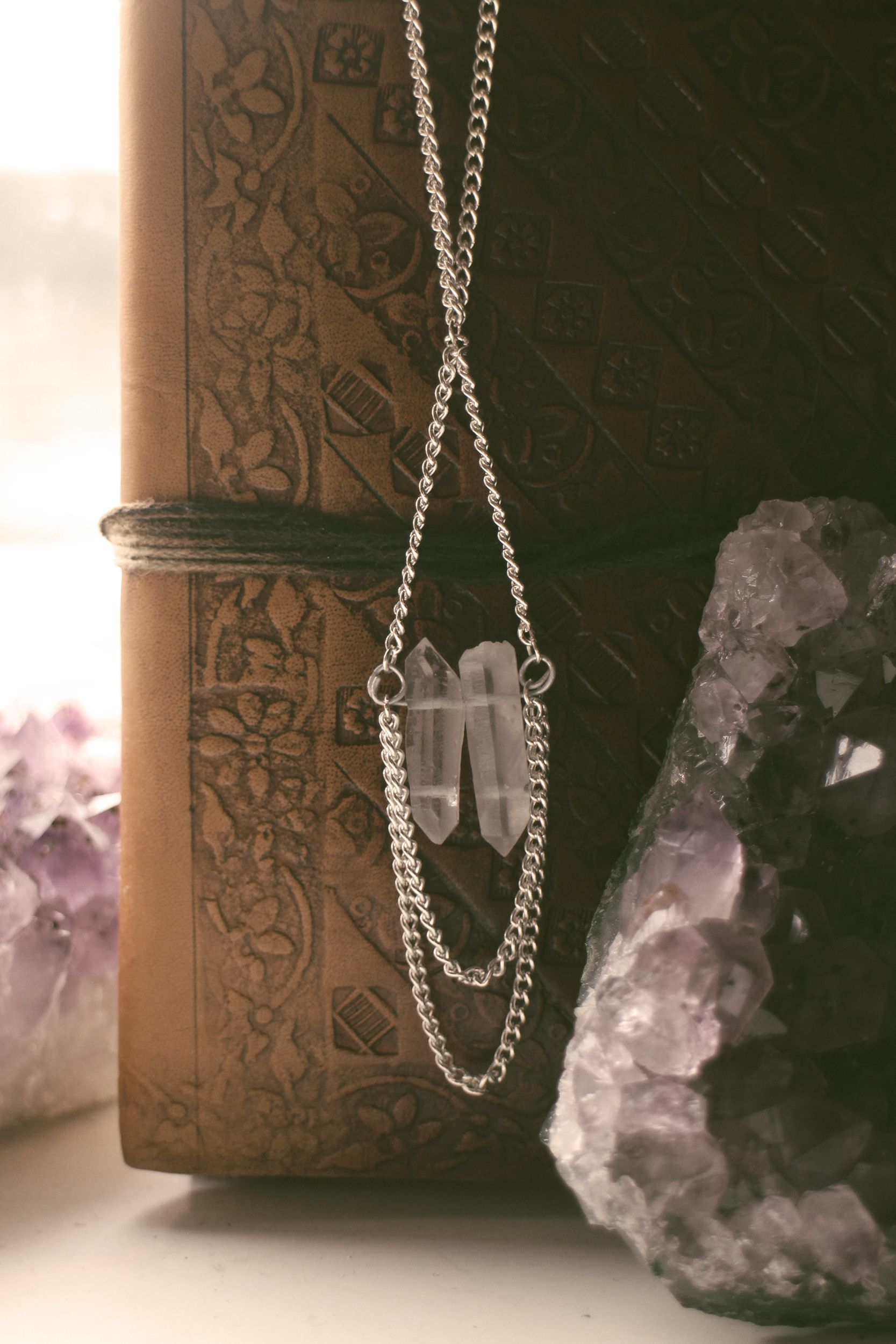 Double crystal boho chain necklace