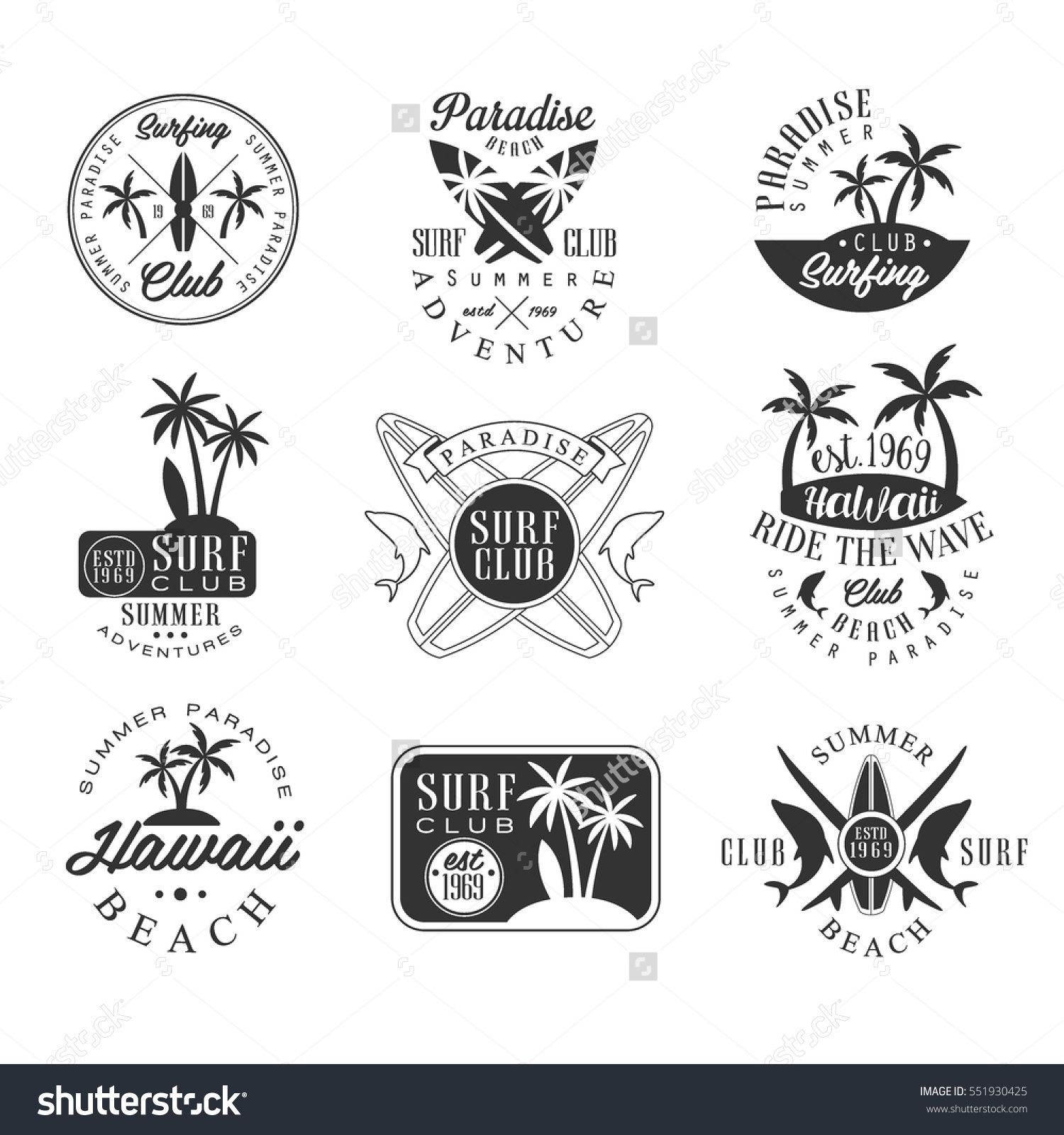 summer vacation in hawaii black and white sign design templates with text and tools silhouettes