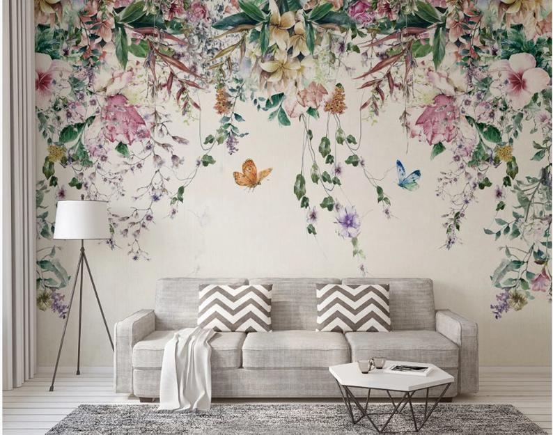 Watercolor Hanging Flowers Floral Wallpaper Wall Mural Beautiful Hanging Flowers Multi Colored Wall Mural Wall Decor Floral Wallpaper Bedroom Room Wallpaper Wall Wallpaper