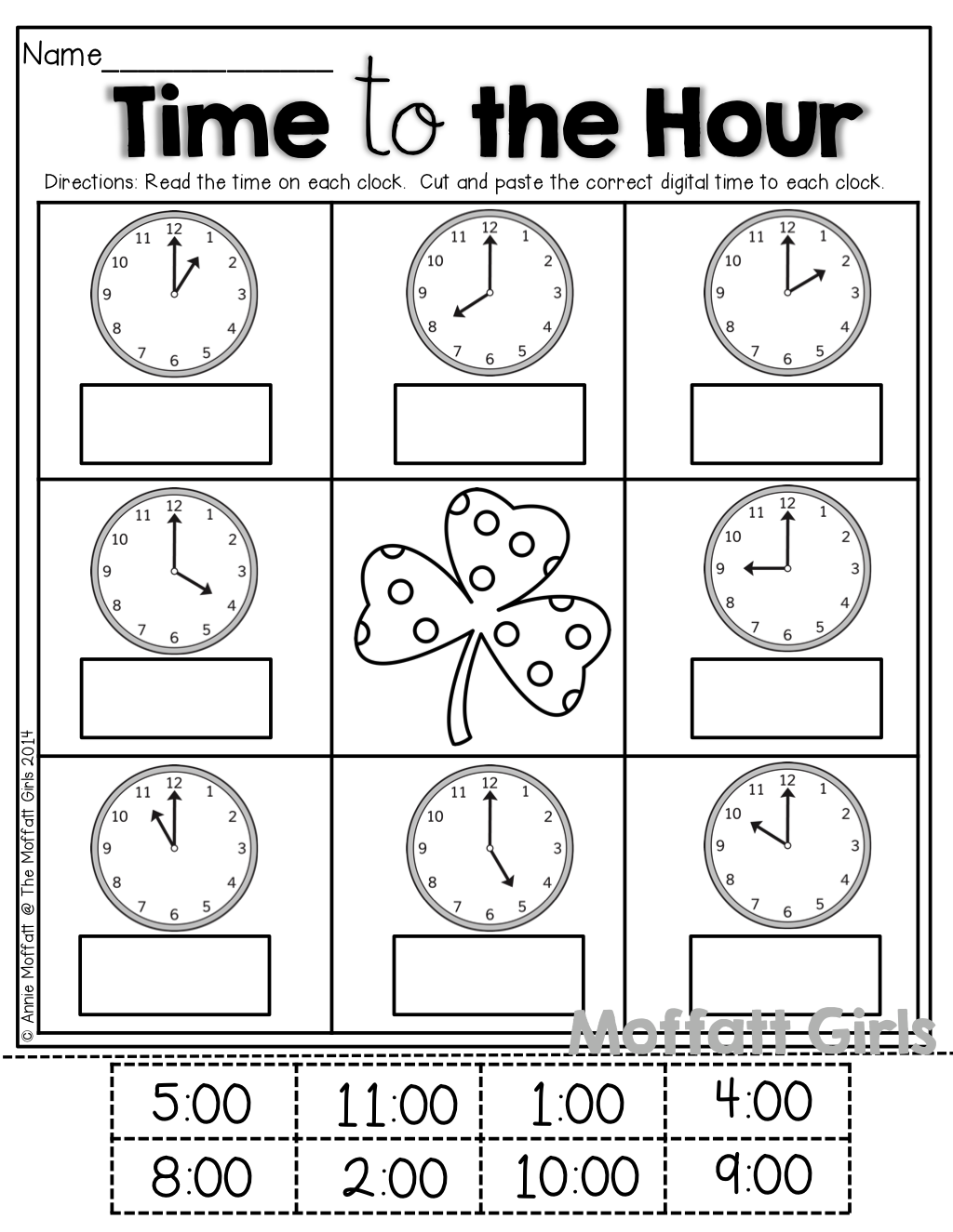 time by the hour cut and paste math kindergarten math teaching math math classroom. Black Bedroom Furniture Sets. Home Design Ideas