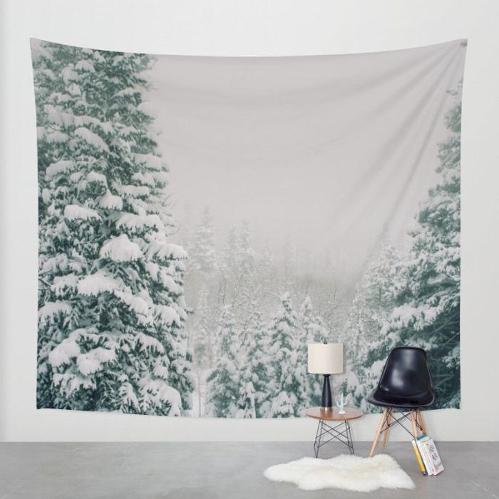 Snowy Forest Wall Tapestry   4 Sizes