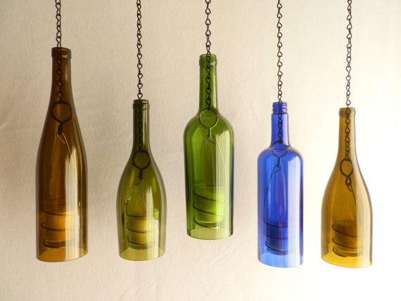 Glass Wine Bottle Hanging Hurricane Lantern by BoMoLuTra on Etsy