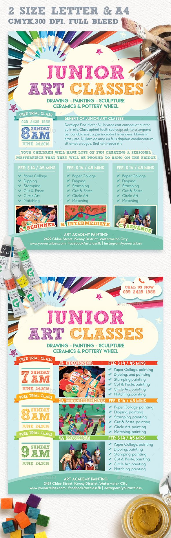 Junior Art Free Trial Class Flyer Template  Jr Art Flyer
