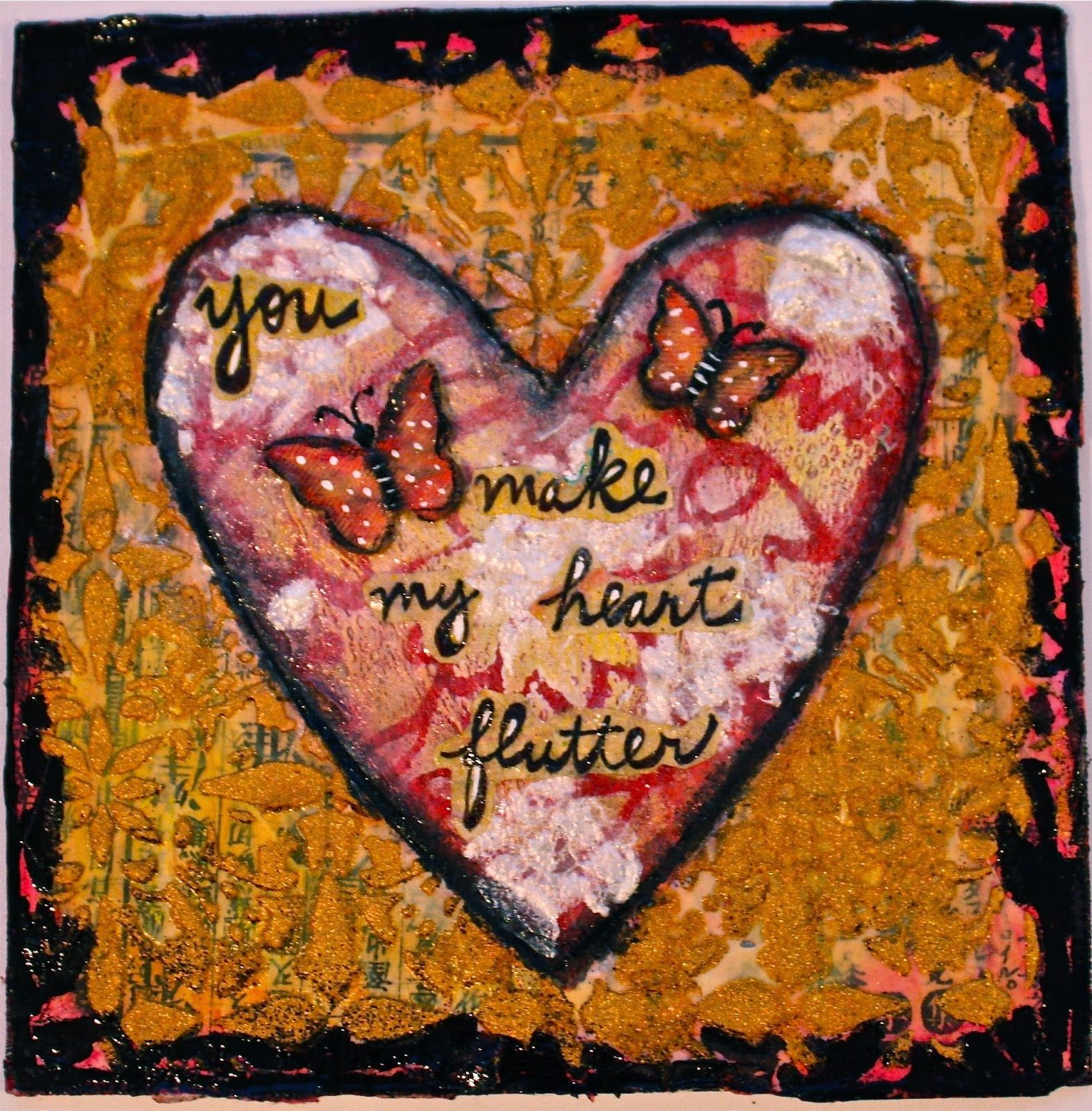Jessica Sporn Designs: Quick Valentine's Day Canvas With Lots of Texture