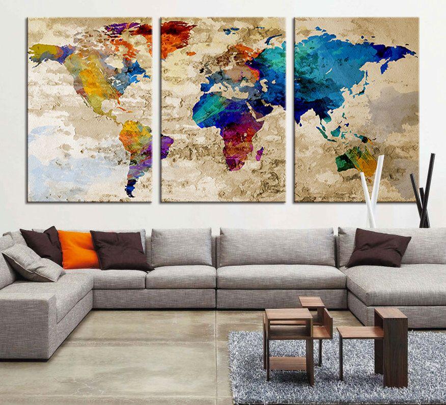 Canvas print large world map canvas art print large wall art canvas print large world map canvas art print large wall art multicolor world map gumiabroncs Gallery