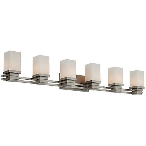 Possini euro bennett 48 12 wide satin nickel bath light style gleaming and crisp this six light bathroom fixture features a satin nickel finish and aloadofball Choice Image