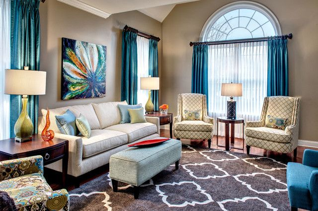 Quatrefoil rug living room transitional with blue and - Green and blue living room pictures ...