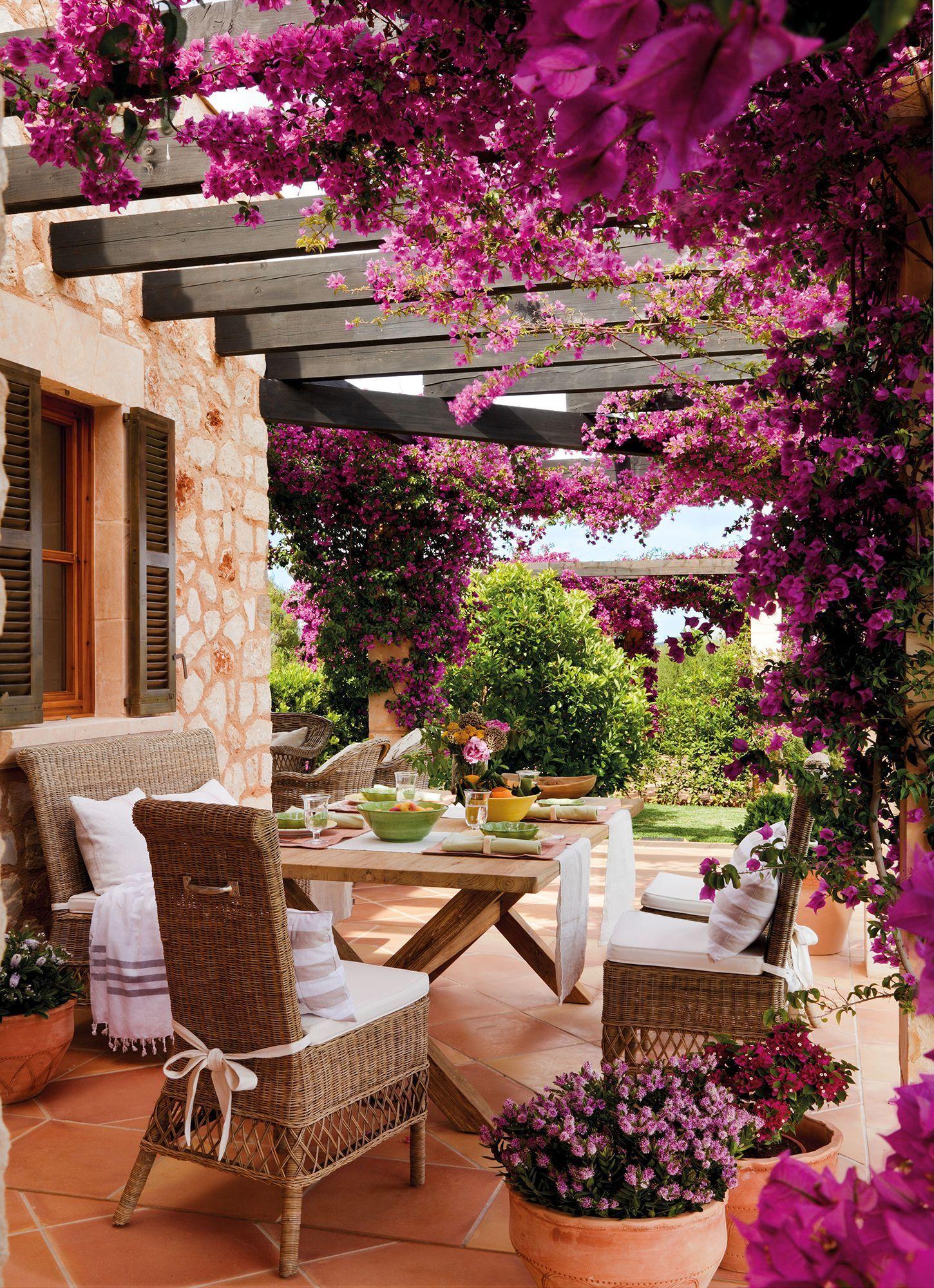 Comedor de exterior bajo pérgola cubierta de una buganvilla en flor