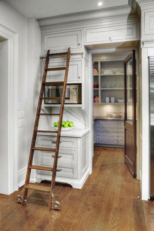 Pantry Ladder Transitional Kitchen Benjamin Moore Edgecomb Gray Braams Custom Cabinets