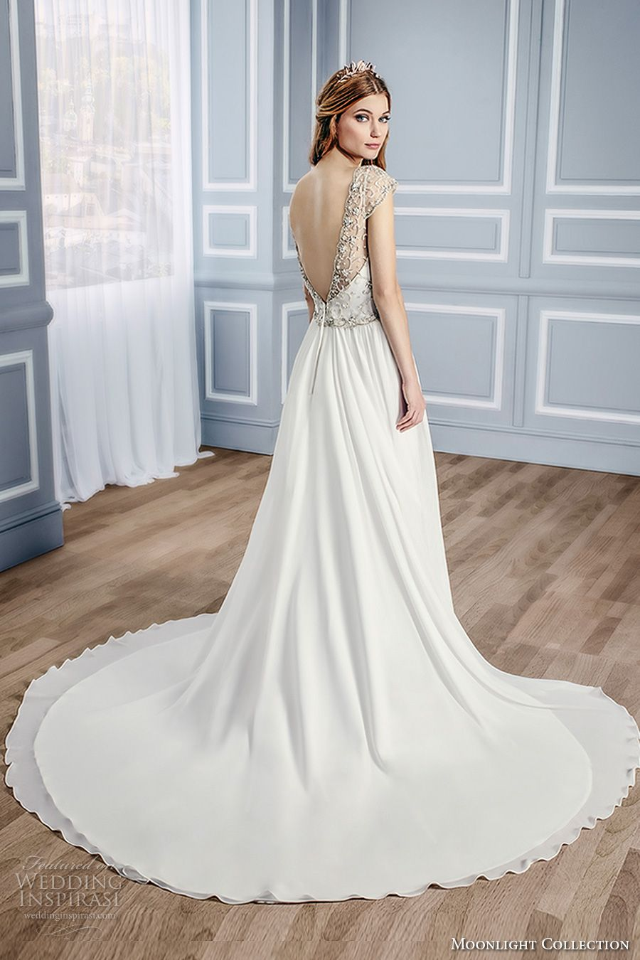 moonlight collection fall 2016 bridal sleeveless thick strap sweetheart neckline heavily embellished bodice a  line wedding dress open low v back chapel train (j6433) bv -- Moonlight Collection Fall 2016 Wedding Dresses