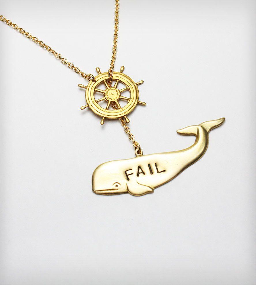 Brass Fail Whale Necklace