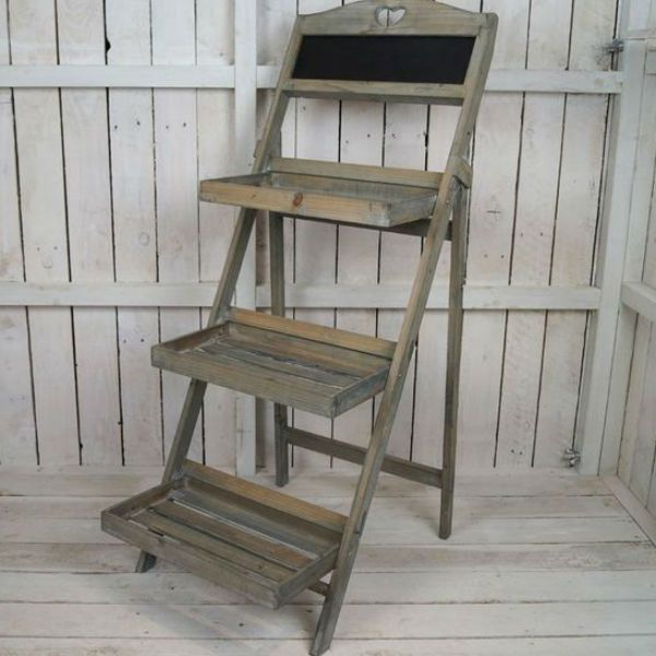 This Vintage 3 Tier Wooden Display Shelf With Chalkboard Consists Of Collapsible Shelves Which