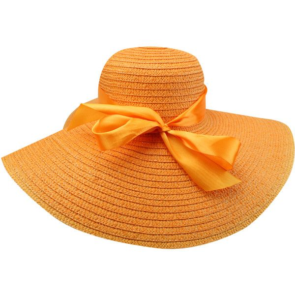 caf7fbfe2bc683 Orange Wide Brim Sun Hat With Satin Bow ($18) ❤ liked on Polyvore featuring  accessories, hats, floppy, orange, brim sun hat, derby hats, orange hat, sun  ...