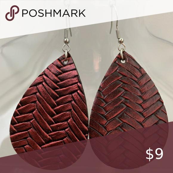 🌻3 for $15🖤Faux Leather Teardrop Dangle Earrings