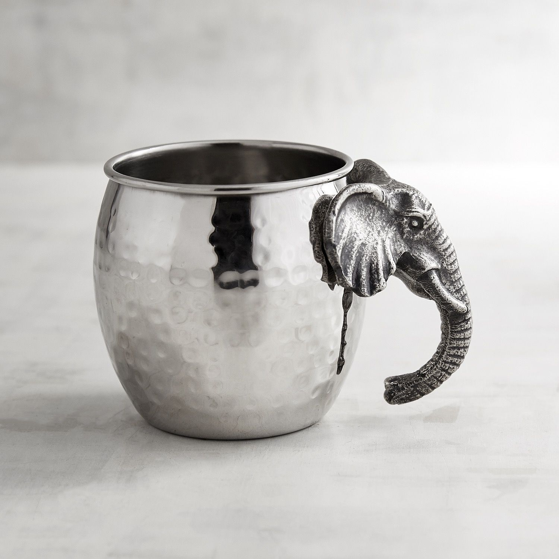 Elephant Stainless Steel Moscow Mule Mug Silver Moscow Mule Mugs Elephant Decor Mugs Stainless steel moscow mule mugs