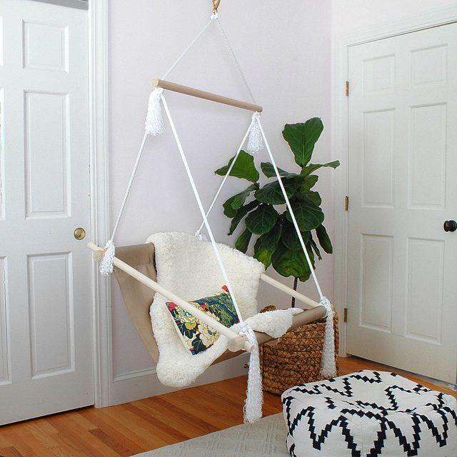 How To Make A Hanging Hammock Chair Diy Hammock Chair Hammock Swing Chair Indoor Hammock Chair