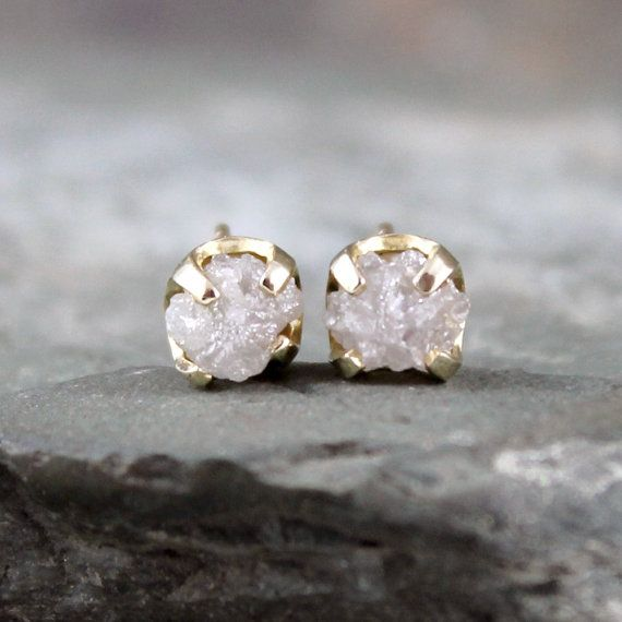 Diamond Earrings Conflict Free Rough Raw Uncut Diamonds 14k Yellow Gold And Gemstone