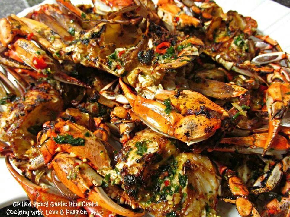 Spicy Grilled Garlic Blue Crabs Crab Recipes Grilling Recipes Recipes
