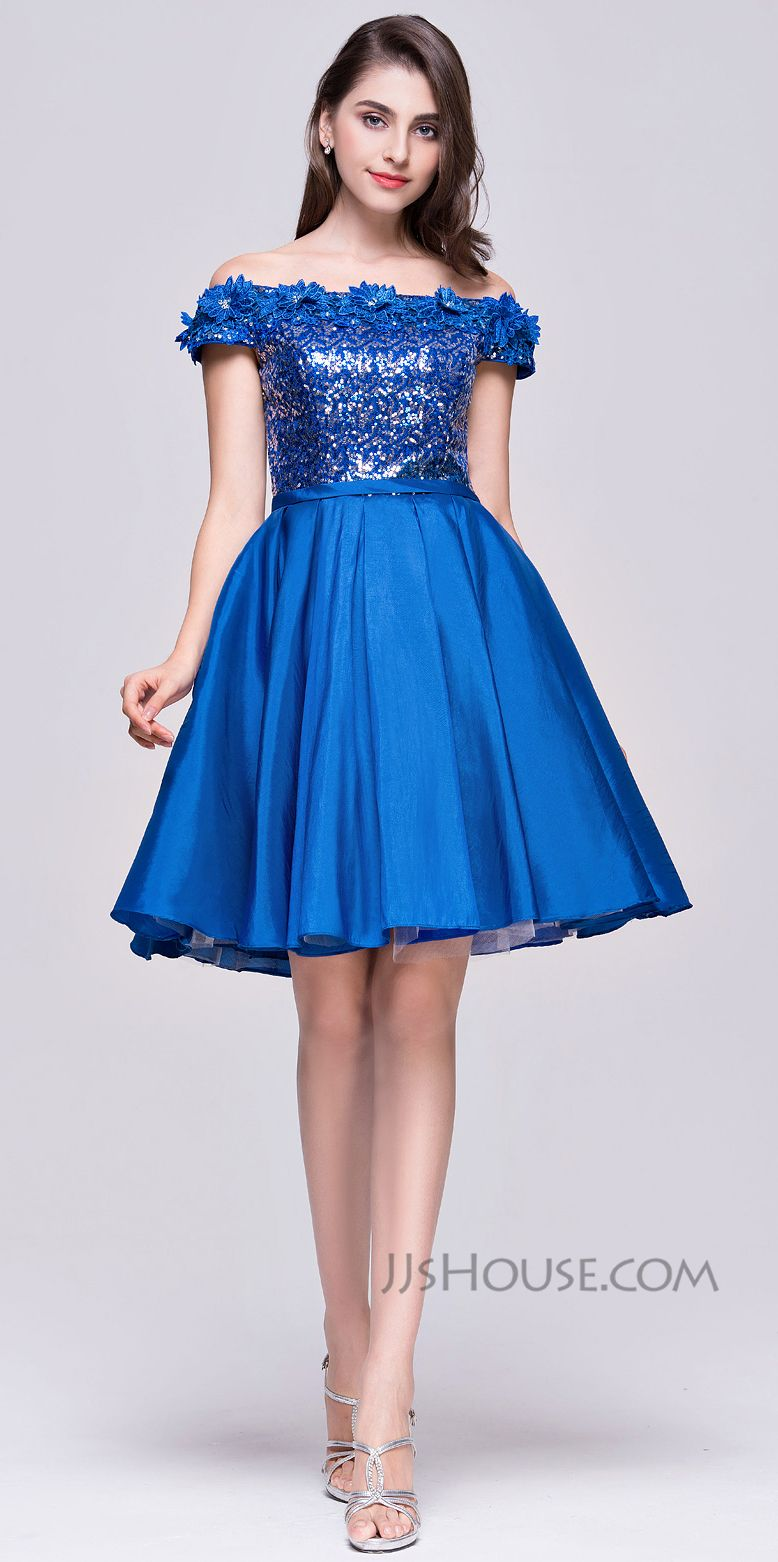 1a3c453d1d6c Super girlie and pretty, this A-line off-the-shoulder knee-length taffeta  sequined dress with 3D flowers will absolutely make you the Homecoming  Queen.