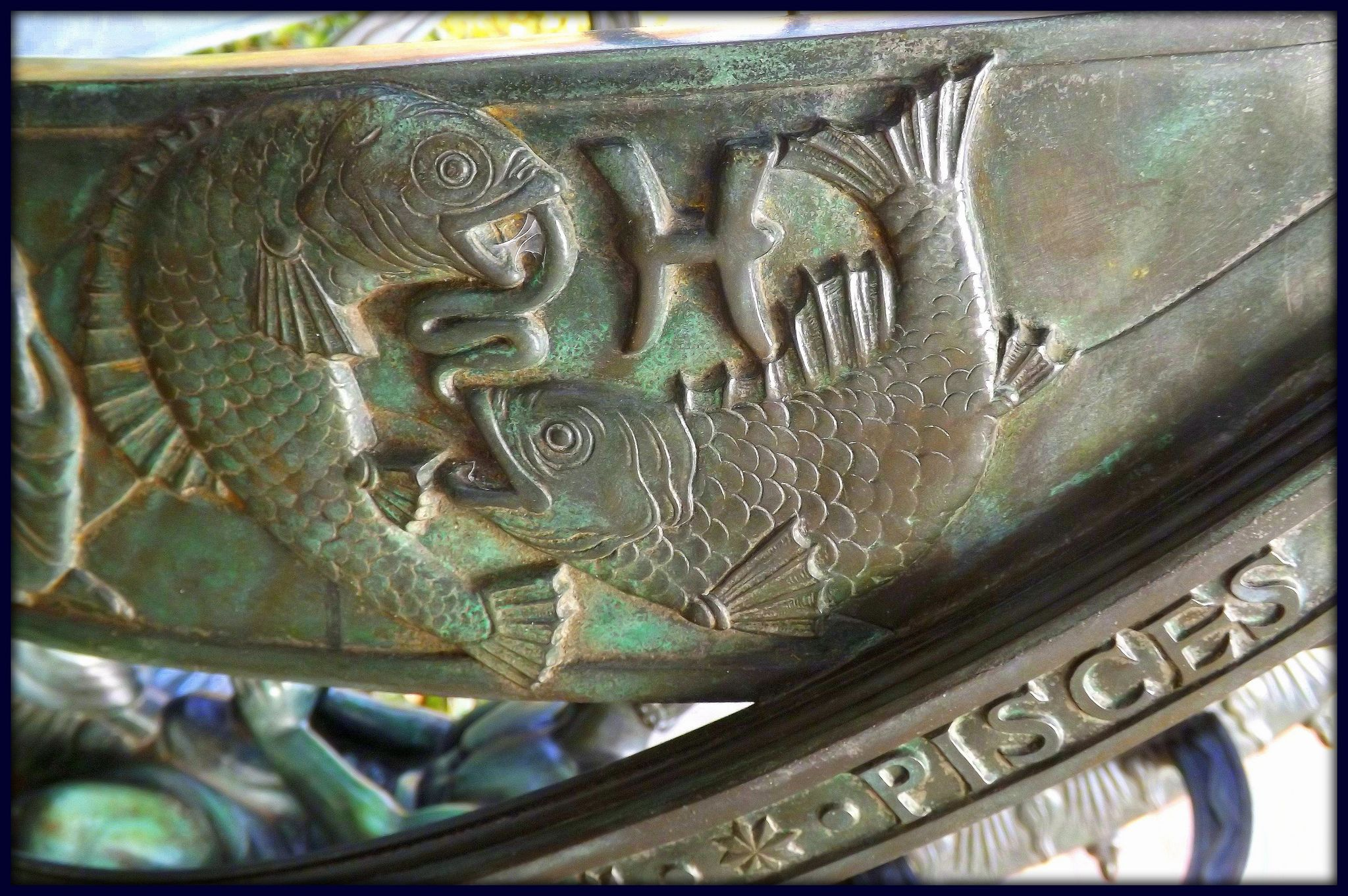 Pisces, Armillary Sphere, Cranbrook.  This sphere is by sculptor Paul Manship.