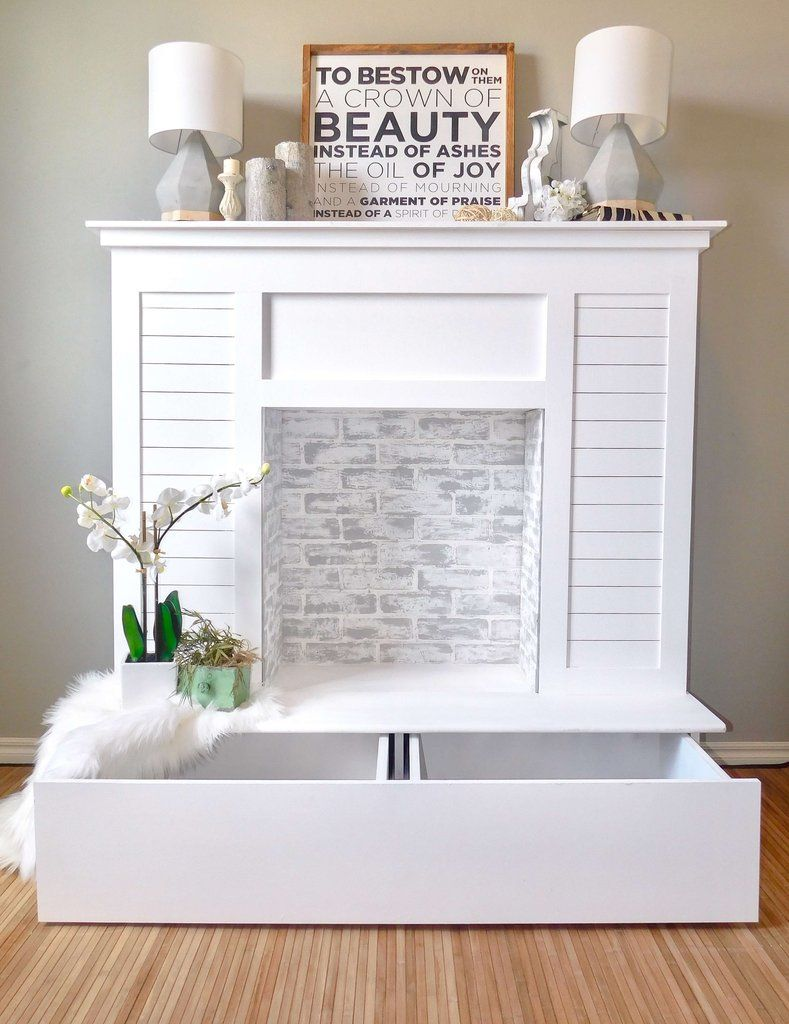 Faux Fireplace with Hidden Storage Faux fireplace, Diy