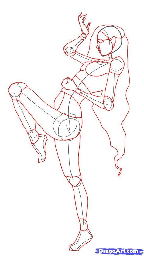 how to draw fighting poses step 9 | models | Female drawing poses
