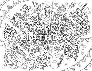 Happy Birthday Coloring Page | Colouring pages | Happy ...