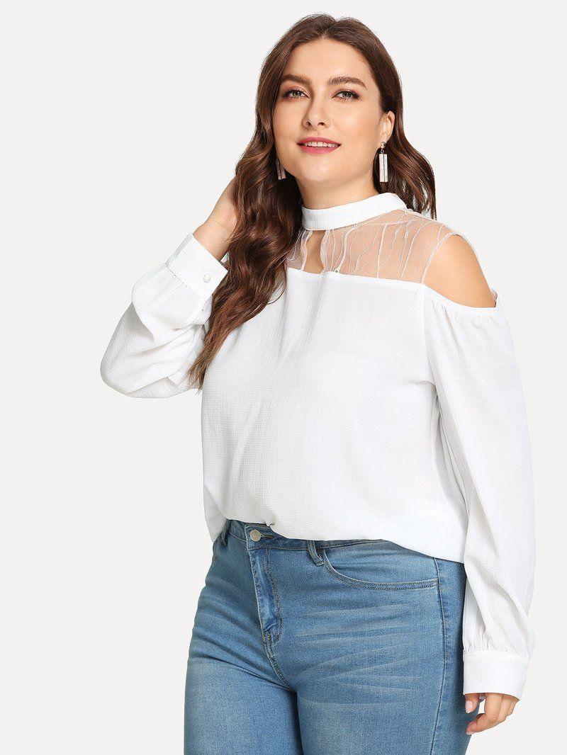 Plus Lace Cold Shoulder Top In 2018 Pant Suits Pinterest Lace