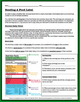 Reading A Food Label Worksheet Health And Physical Education