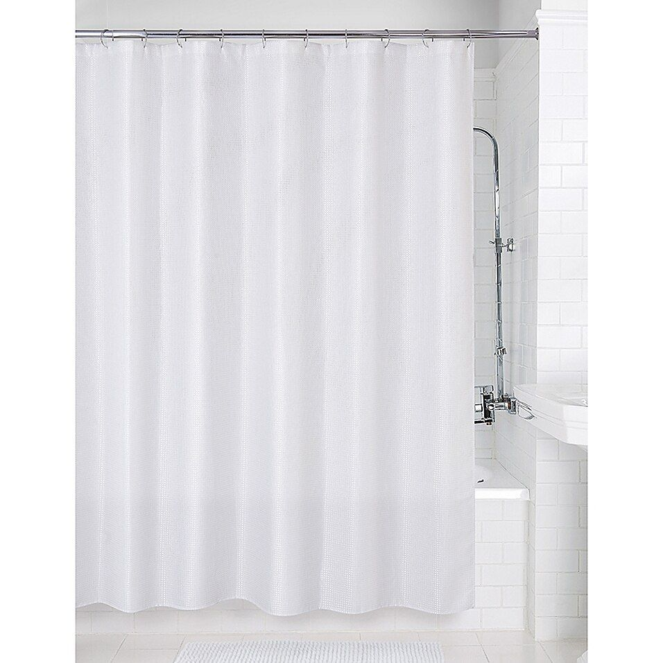 72 Inch X 70 Inch Metallic Waffle Shower Curtain In White In 2020