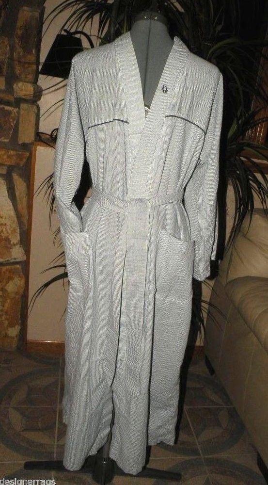 CHRISTIAN DIOR Mens Striped Robe Tie Blue White Stripes