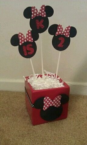 Minnie Mouse Birthday Party -Table Decoration- Red polka dots- Red Glitter- Set of 3 with Base. $15.00, via Etsy.