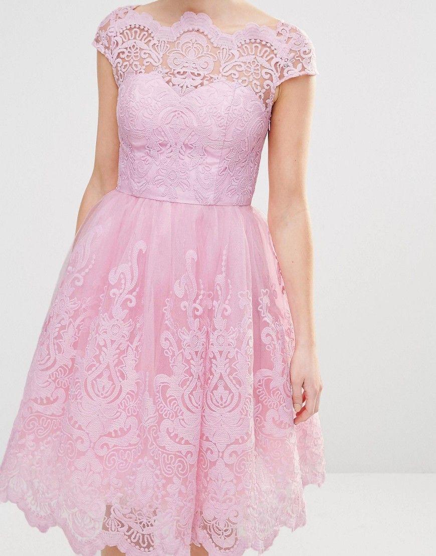 Chi Chi London Petite Premium Lace Midi Prom Dress With Bardot Neck