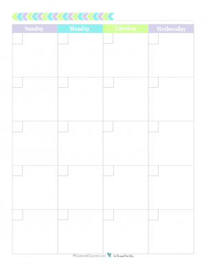 this free blank monthly calendar printable spreads one month out over two 85x11 pages and