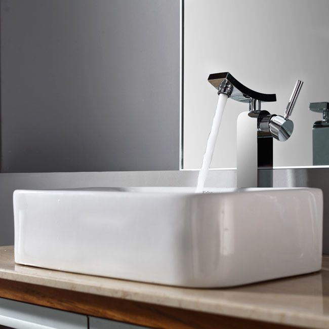 Bathroom Combos Rectangular Ceramic Bathroom Sink with Single Handle Single Hole Faucet