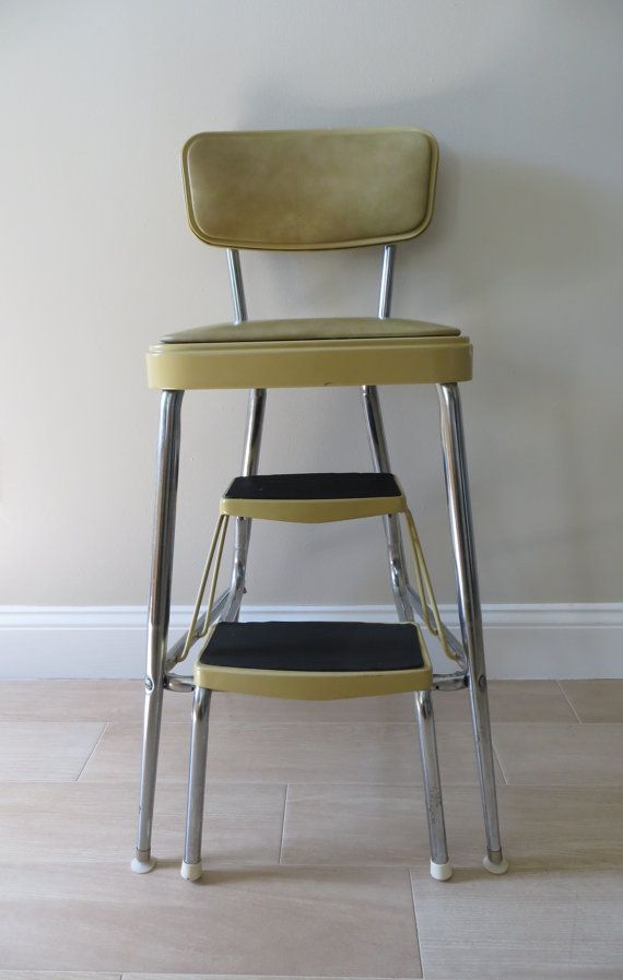 Vintage Mid Century Step Stool With Cushioned Seat And
