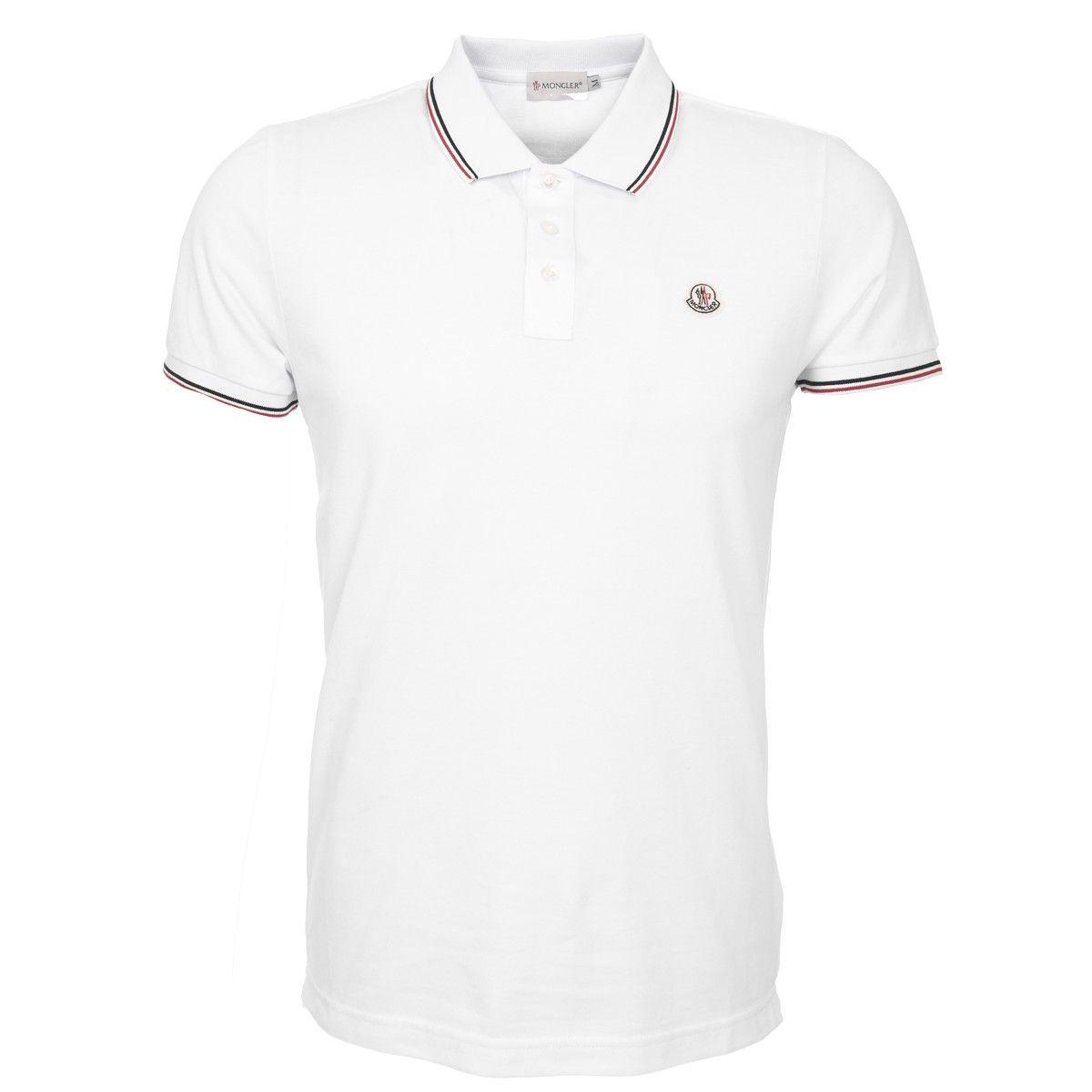 buy popular 014fc 9f068 Poloshirt mit Tricolorekragen in Weiß | Moncler - Männer ...