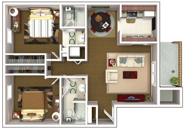 Planos de departamentos de dos dormitorios selecci n de for Small two bedroom apartment floor plans