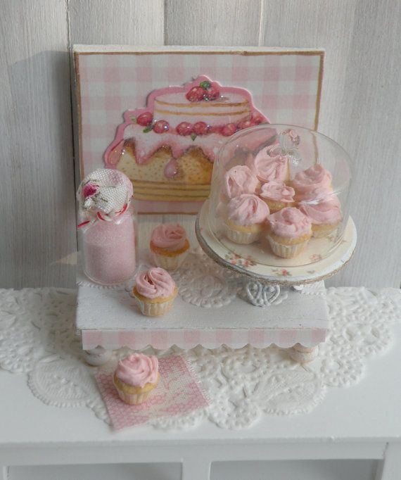Miniature Shabby Pink Bakery Set by CynthiasCottageShop on Etsy